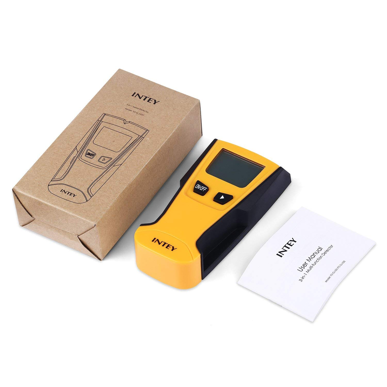 INTEY Detector De Pared 3 EN 1 Pantalla LCD Detector De Pared para Detecta AC Cable ,Metal Tuber/ías,Madera En La Pared DCemento,Azulejos