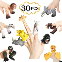 30PCS Realistic Animals Finger Puppets Playset Soft Vinyl Rubber Animal Head Finger Puppet with Feet Theaters Doll Model Toy for Kids