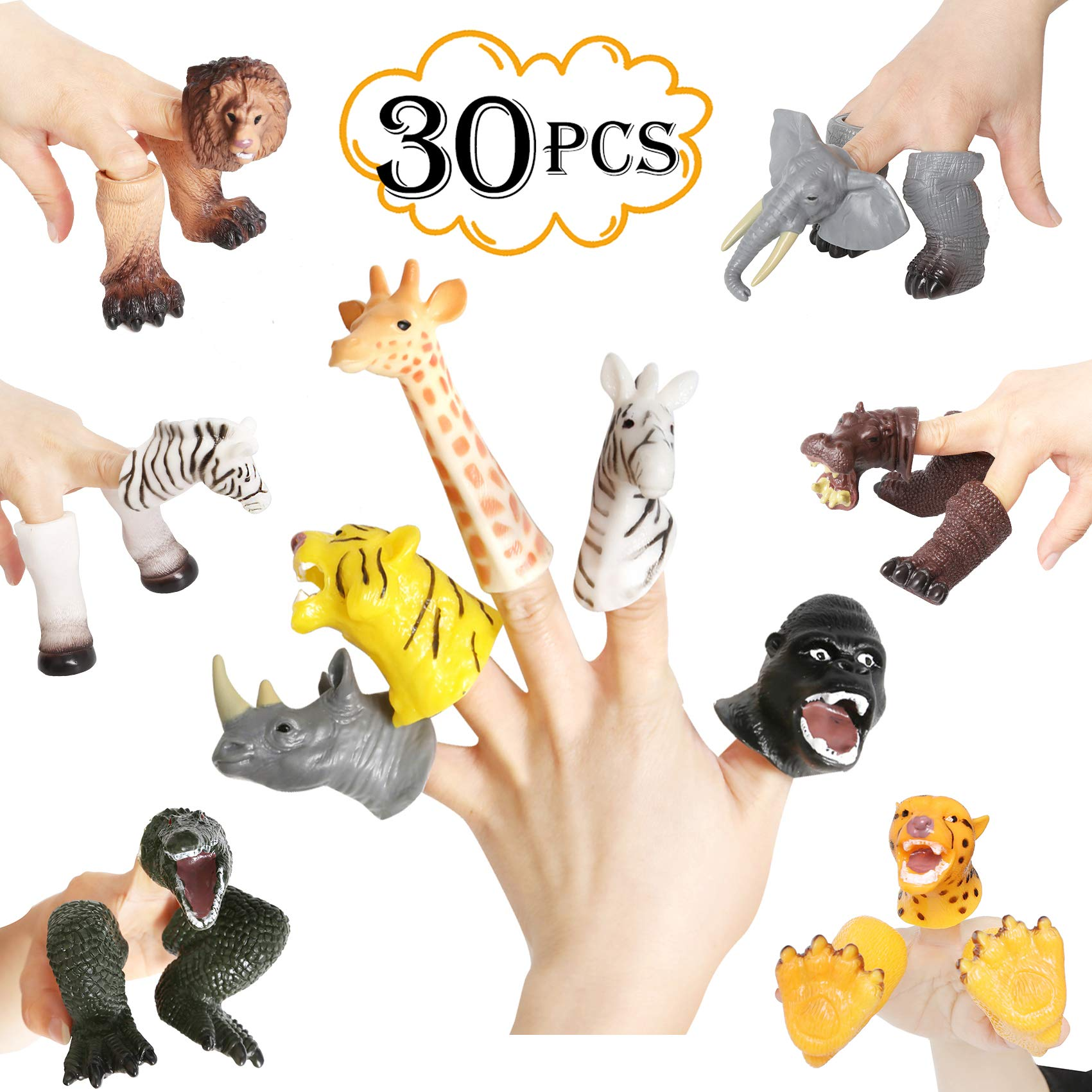 rainbow yuango 30PCS Realistic Animals Finger Puppets Playset Soft Vinyl Rubber Animal Head Finger Puppet with Feet Theaters Doll Model Toy for Kids