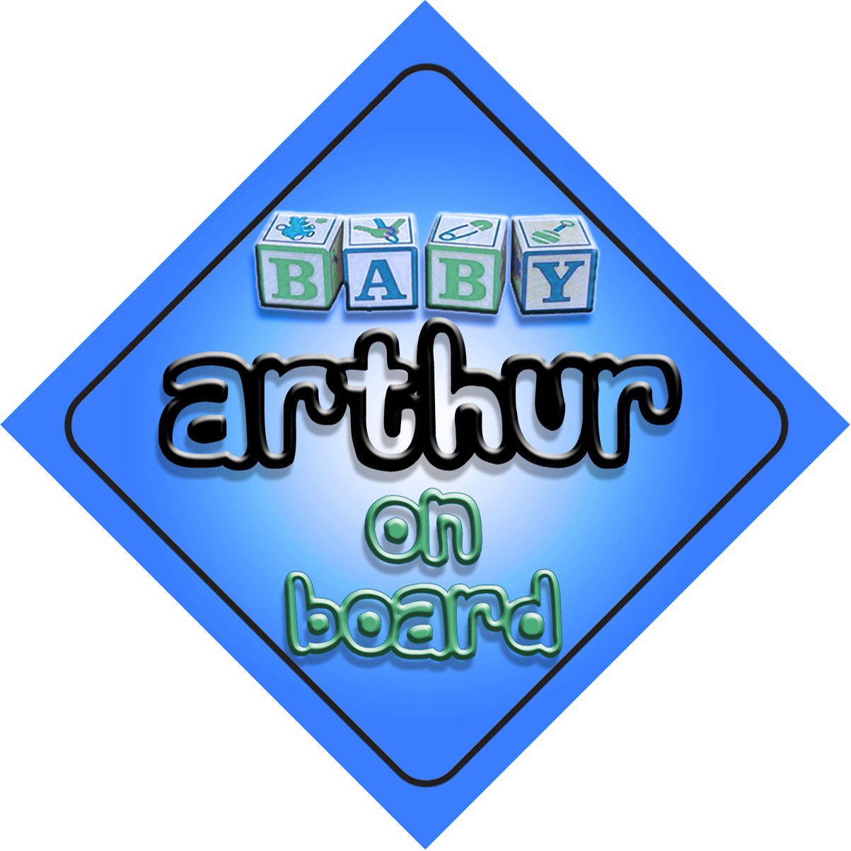 Baby Boy Arthur on board novelty car sign gift//present for new child//newborn baby