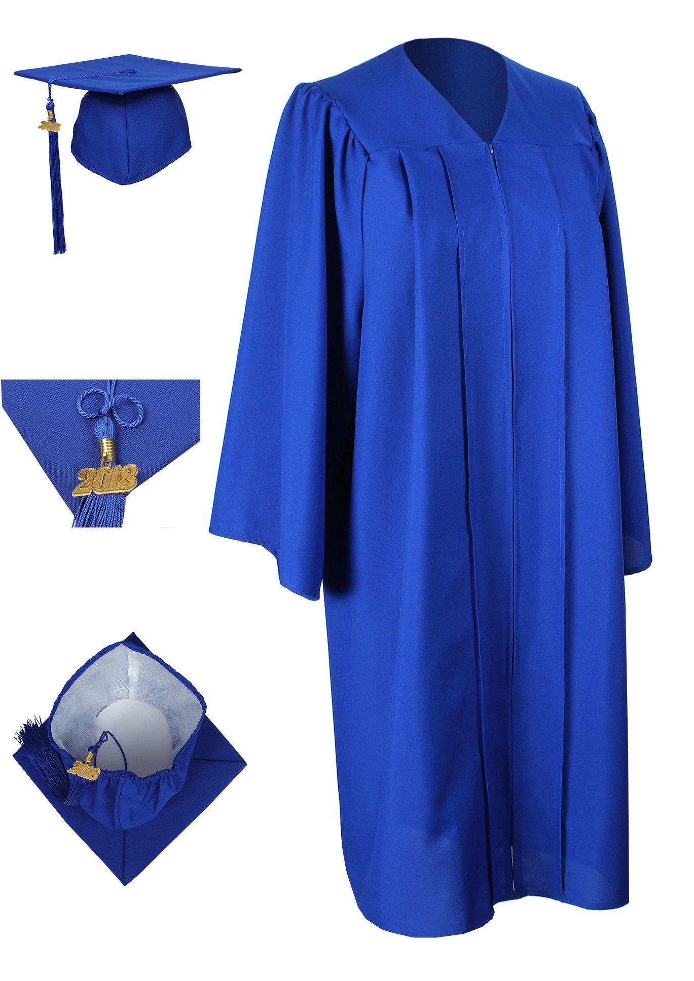 GraduationForYou Matte Graduation Gown Cap Tassel 2017,51(5\'6-5\'8 ...