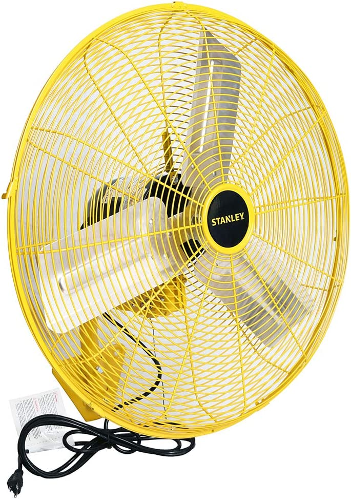 STANLEY ST-24W High Velocity Wall Mount Fan 24 Yellow, Black
