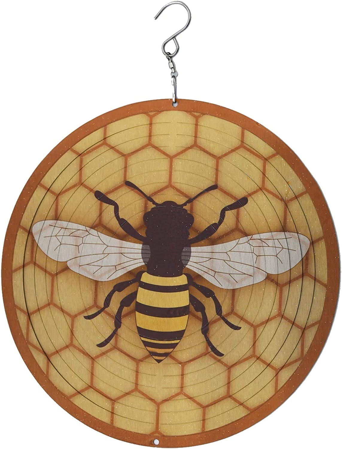 Wind Mobile Metal Spinner, Outdoor Art, Bee Wind Spinner, Laser Cut Metal Art. Durable Stainless-Steel Honeycomb + Bee. All Weather Hanging Wind Spinner for Garden, Yard, Porch, Home or Apartment.