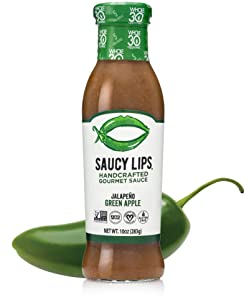 Saucy Lips Jalapeno Green Apple Sauce, Gourmet Sauces and Marinades, Vegan Dressing, Keto, Whole30 Approved, Sugar & Gluten Free, Non-GMO, Low Carb & Low Sodium Dressing, No Fat & Dairy, 10oz