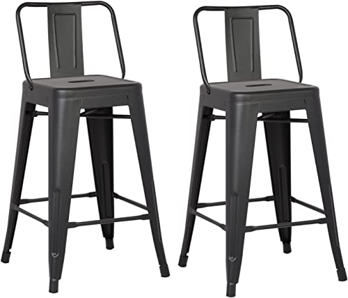 AC Pacific Modern Industrial Metal Barstool with Bucket Back and 4 Leg Design, 24 Seat Bar Stools Set of 2 , Matte Black Finish