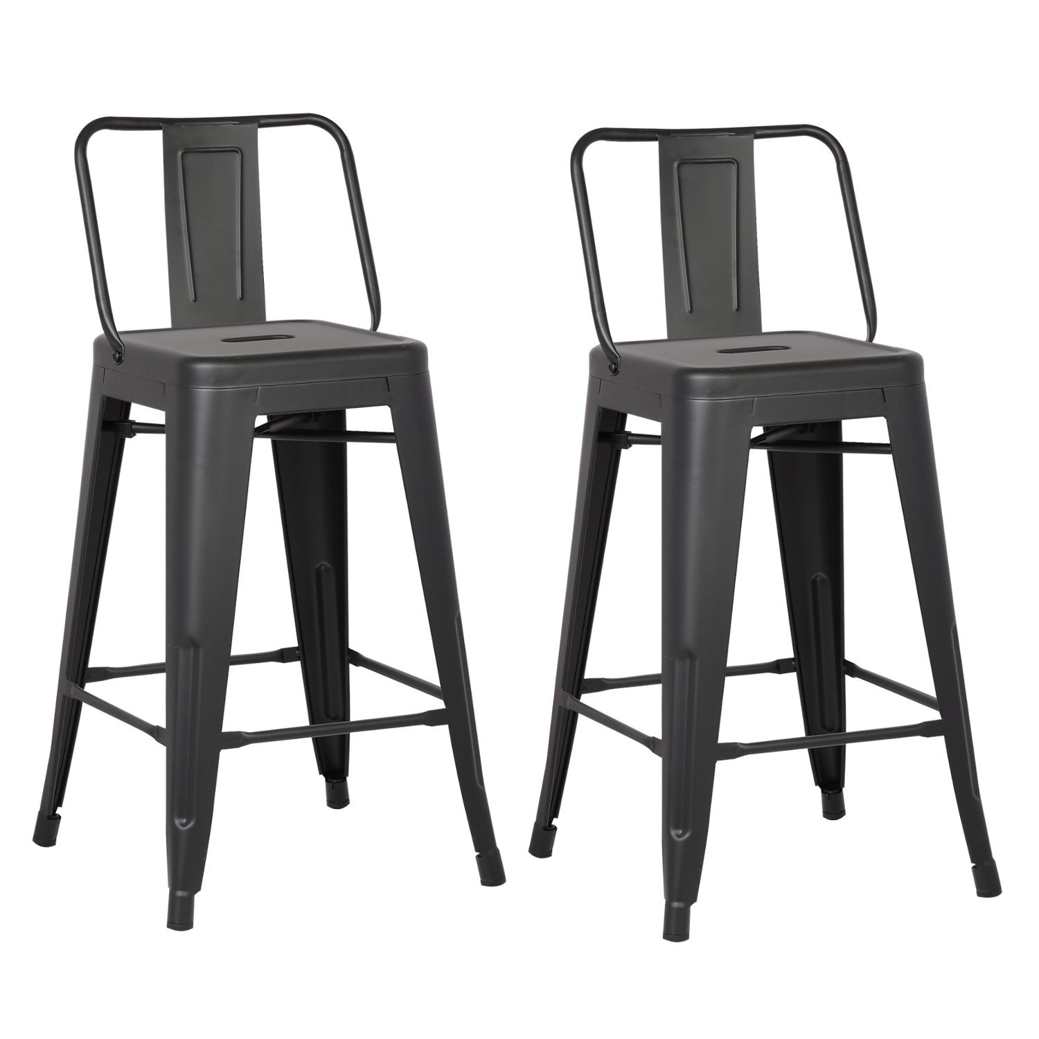AC Pacific Modern Industrial Metal Barstool with Bucket Back and 4 Leg Design, 24'' Seat Bar Stools (Set of 2), Matte Black Finish by AC Pacific