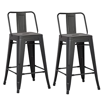 Marvelous Ac Pacific Modern Industrial Metal Barstool With Bucket Back And 4 Leg Design 24 Seat Bar Stools Set Of 2 Matte Black Finish Gmtry Best Dining Table And Chair Ideas Images Gmtryco