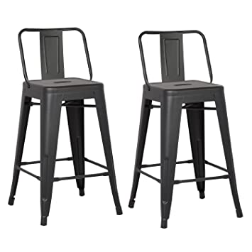 AC Pacific Modern Industrial Metal Barstool With Bucket Back And 4 Leg  Design, 24u0026quot;