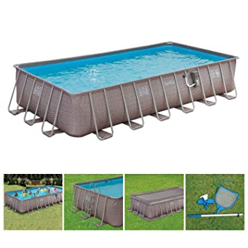 Summer Waves 24ft x 12ft x 52in Above Ground Rectangle Frame Backyard  Outdoor Pool Set with SkimmerPlus Filter Pump, Pool Cover, Ladder, and  Ground ...
