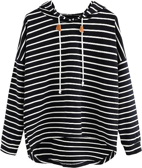 Floerns Womens Drawstring Hem Pullover Sweatshirt T-Shirt Blouse Top