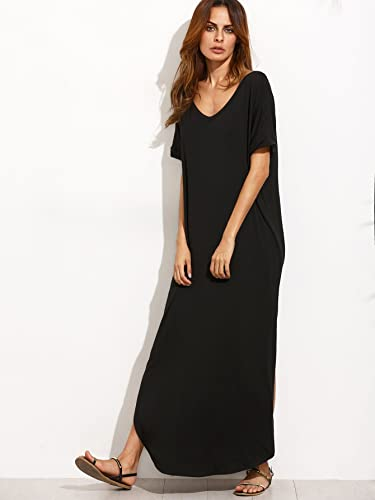 9caeb3e4cd6 MAKEMECHIC Women s Casual Loose Pocket Long Dress Short Sleeve Split Maxi  Dress at Amazon Women s Clothing store