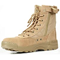 CQB.SWAT Men's Genuine Leather Boot 8 Inch Tactical Combat Boot Anti-Slip Outdoor Hiking Boot with YKK Side Zipper