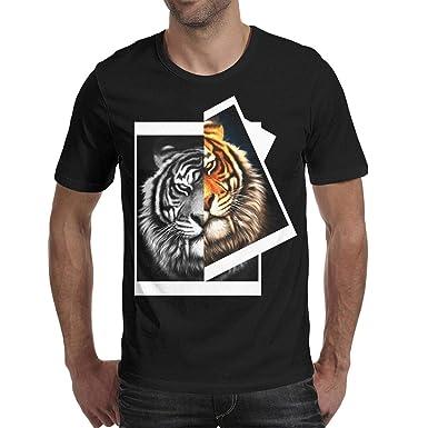 7cd7e1edddeb Big Funny Tiger Animal face Short Sleeve for Men t-Shirts O-Neck Cotton