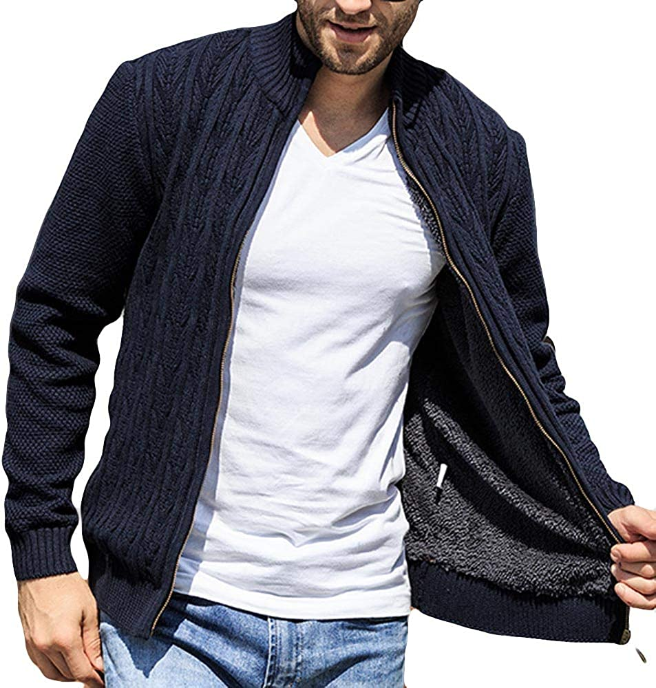 YKARITIANNA Mens 2019 Big Boys Cable Knitted Sweater Mens Autumn Spring New Long Sleeved Knitted Coat Tops