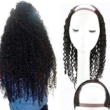 Amazon Com Sunny Half Wigs Human Hair U Part Wigs 14 Natural Black For Black Women 100g Short Wig U Part Lace Wigs Kinky Curly Brazilian Hair Beauty