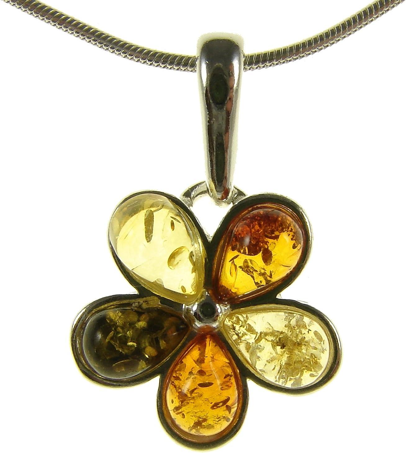 Collar con colgante de plata de ley 925 con ambar del Baltico joyeria (con cadena)