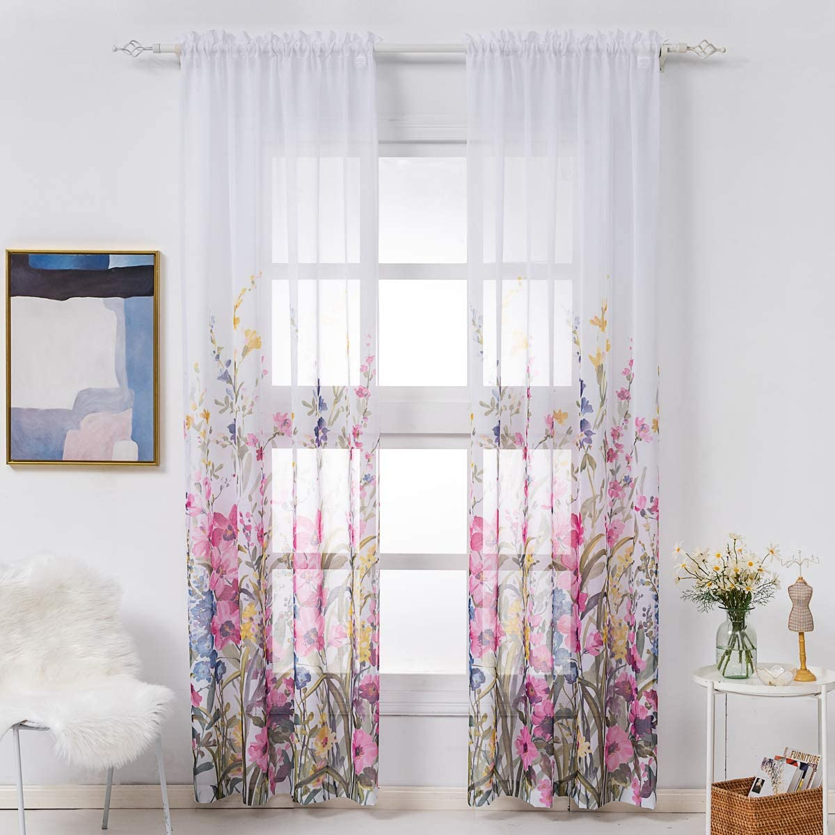 Kotile Pink Floral Sheer Curtains for Living Room 96 Inch Long Bedroom Window Curtain Print Flowers Blossom Curtain 2 Panels, Red and Pink, 52 x 96 Inch, Pair