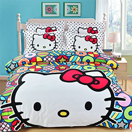 Hello Kitty Bedroom Set Twin Size Teen Girls Hello Kitty Bed Bedding Set