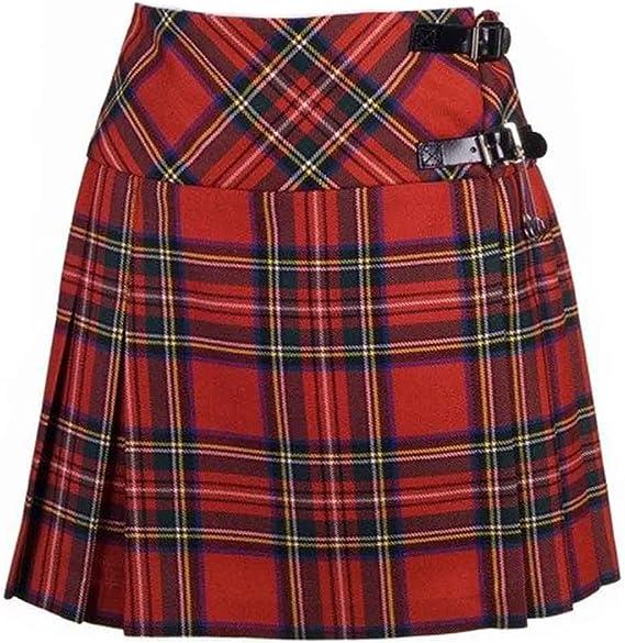 Nuevo de Mujer Royal Stewart de Cuadros Escoceses Mini Falda ...