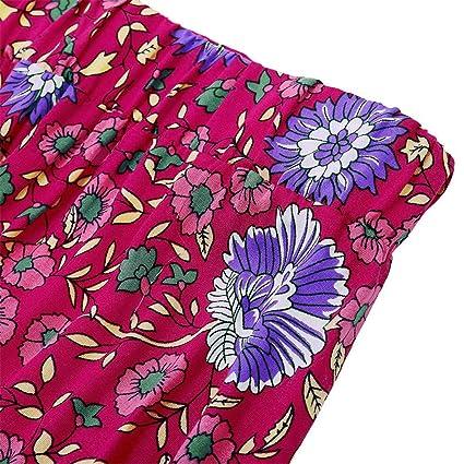 QIjinlook 💖 Boho Falda Plisada Floral Rojo/Falda Larga Abierta ...