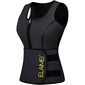 12c0de5b4f ELAIMEI Women Hot Sweat Body Shaper Tank Thermo Yoga Sauna Neoprene Sticker  and Zipper Vest Fat