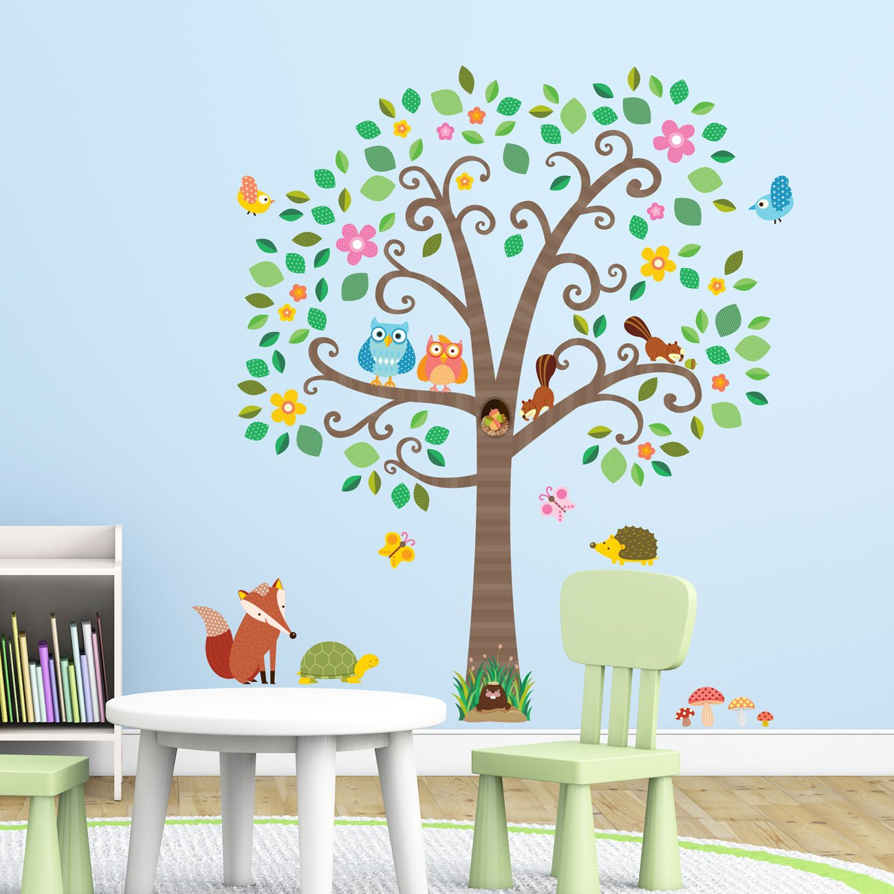Decowall DA-1502N Large Scroll Tree and Animals Kids Wall Stickers Wall Decals Peel and Stick Removable Wall Stickers for Kids Nursery Bedroom Living Room