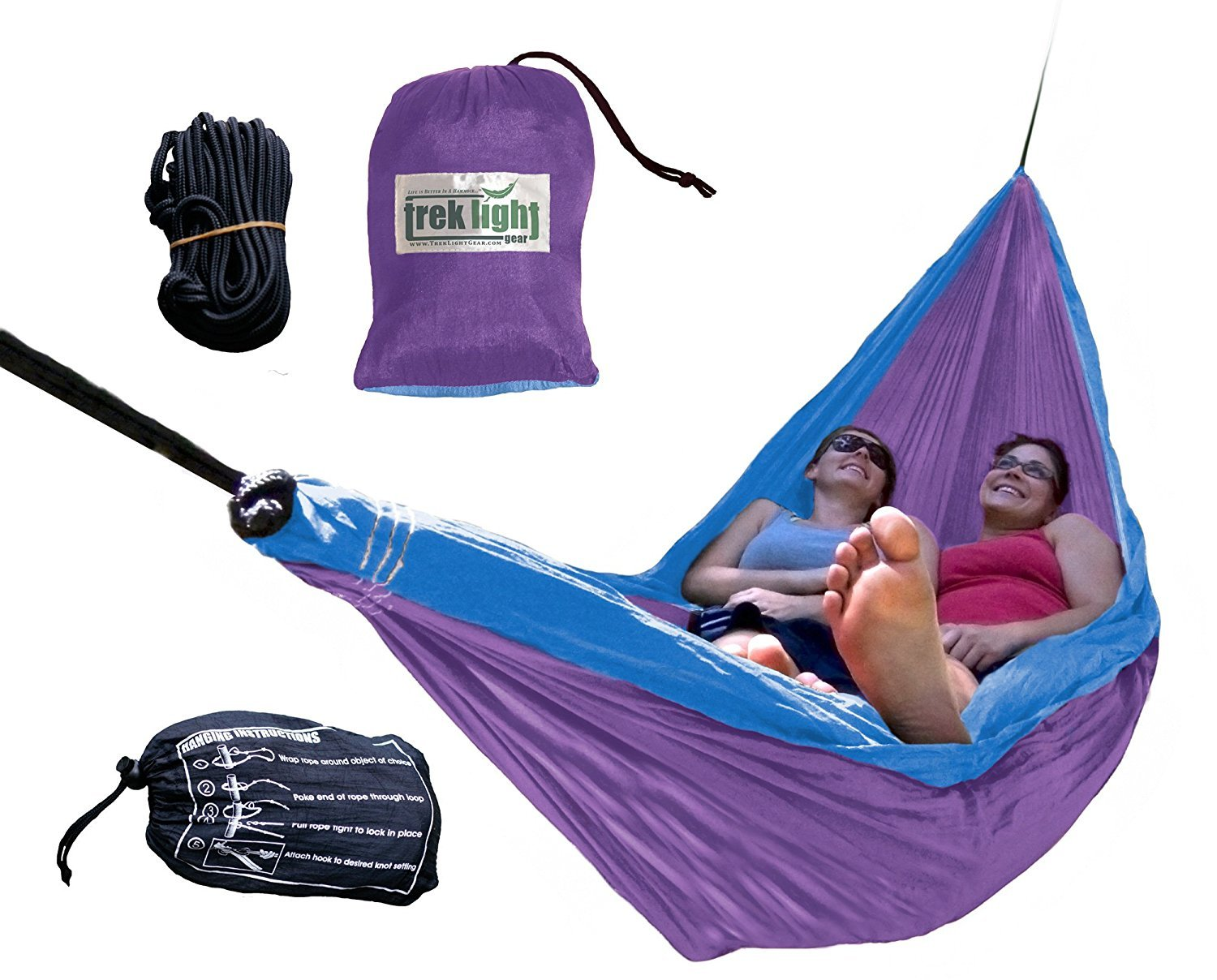 Trek Light Gear Double Hammock with Rope Kit - The Original Brand of Best-Selling Lightweight Nylon Hammocks - Use for All Camping Hiking and Outdoor Adventures {Purple/Blue} [並行輸入品] B074DG79KC