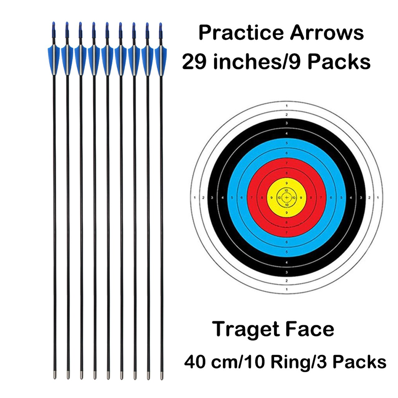 SinoArt Recurve Bow Adjustable Length 48.5''-50'' Draw Weight 14-16 Lb Right and Left Hand with 9 Arrows and 3 Target Faces by SinoArt (Image #3)