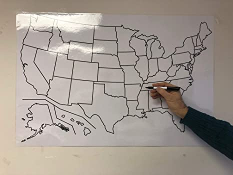 Copy King Blank US Map Laminated Dry Erase Poster, Reusable United Dry Erase Maps on