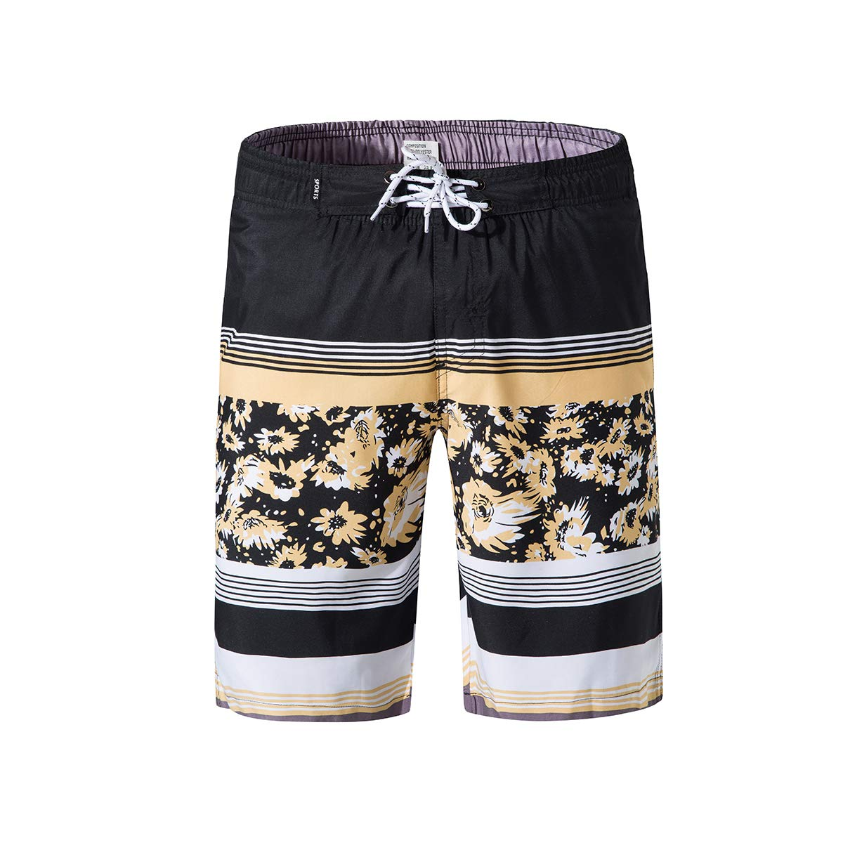TENMET Men/'s Quick Dry Floral and Strips Board Shorts with Zipper Pockets Beach Swim Trunks Knee Length