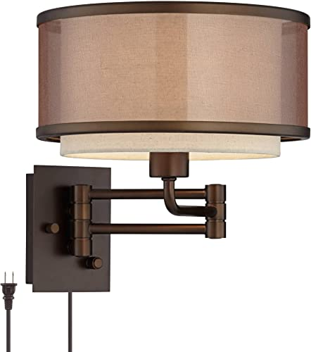 Vista Rustic Farmhouse Swing Arm Wall Lamp Oil Rubbed Bronze Plug-in Light Fixture Brown Oatmeal Linen Double Drum Shade Bedroom Bedside House Reading Living Room Home Hallway
