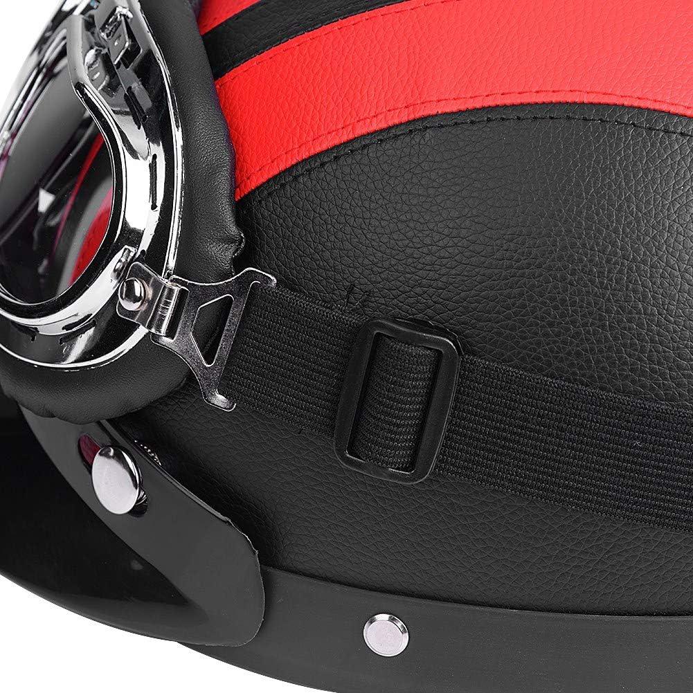 Casque de Moto avec Lunettes Anti-UV Casque Demi Ouvert de Moto avec Visi/ère de Casque pour Moto Croisi/ère Randonn/ée V/élo Scooter Demi Casque de Moto en Cuir Diff/érentes Couelurs au Choix Noir
