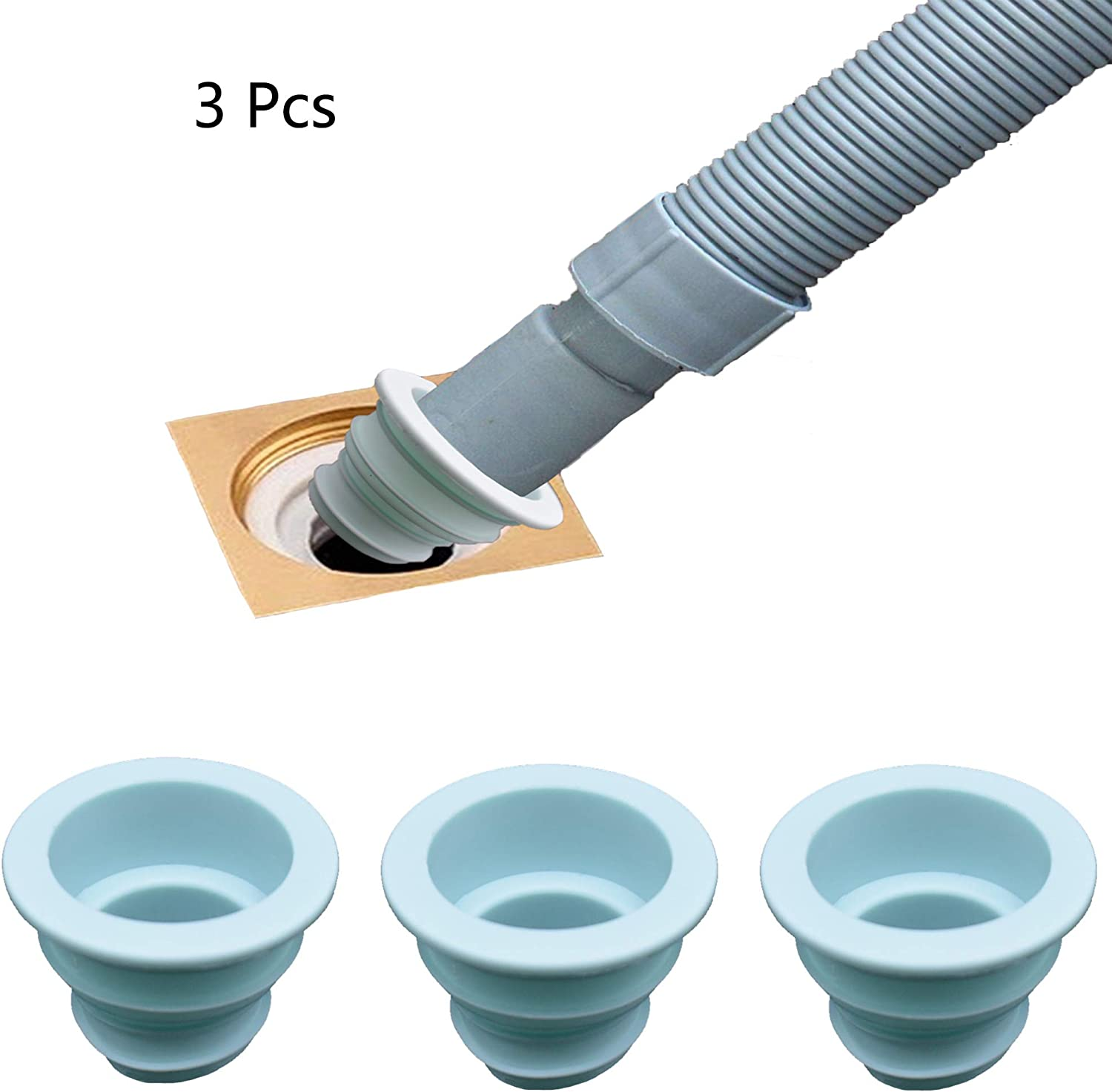 LiXiongBao 3 Pack Drain Pipe Seal Hose Silicone Plug,Silicone Sealing Plug Kitchen Pipe Sewer Seal Ring Washing Machine Drain Multipurpose Pipe Connector Bathroom Kitchen Laundry (Blue)