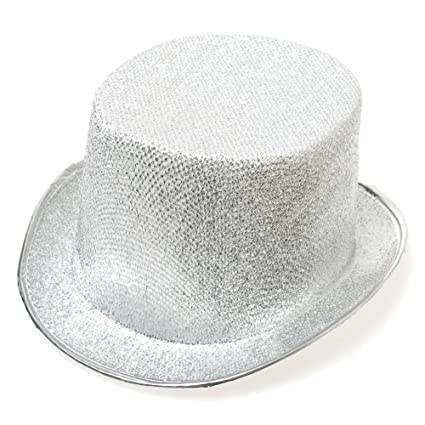 3b925b822df Amazon.com  Century Novelty Silver Glitter Top Hat  Toys   Games