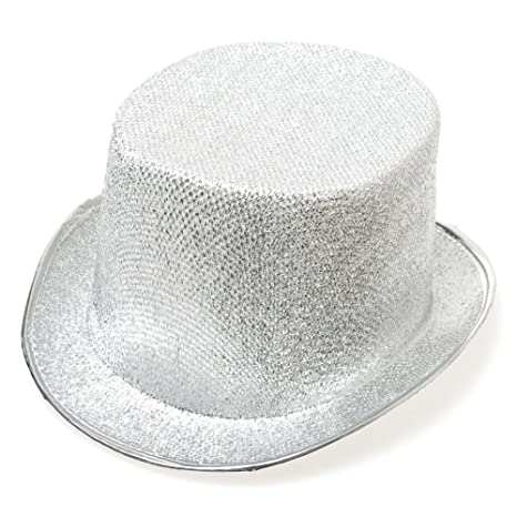 Image Unavailable. Image not available for. Color  Century Novelty Silver  Glitter Top Hat c45f7ee7c73f