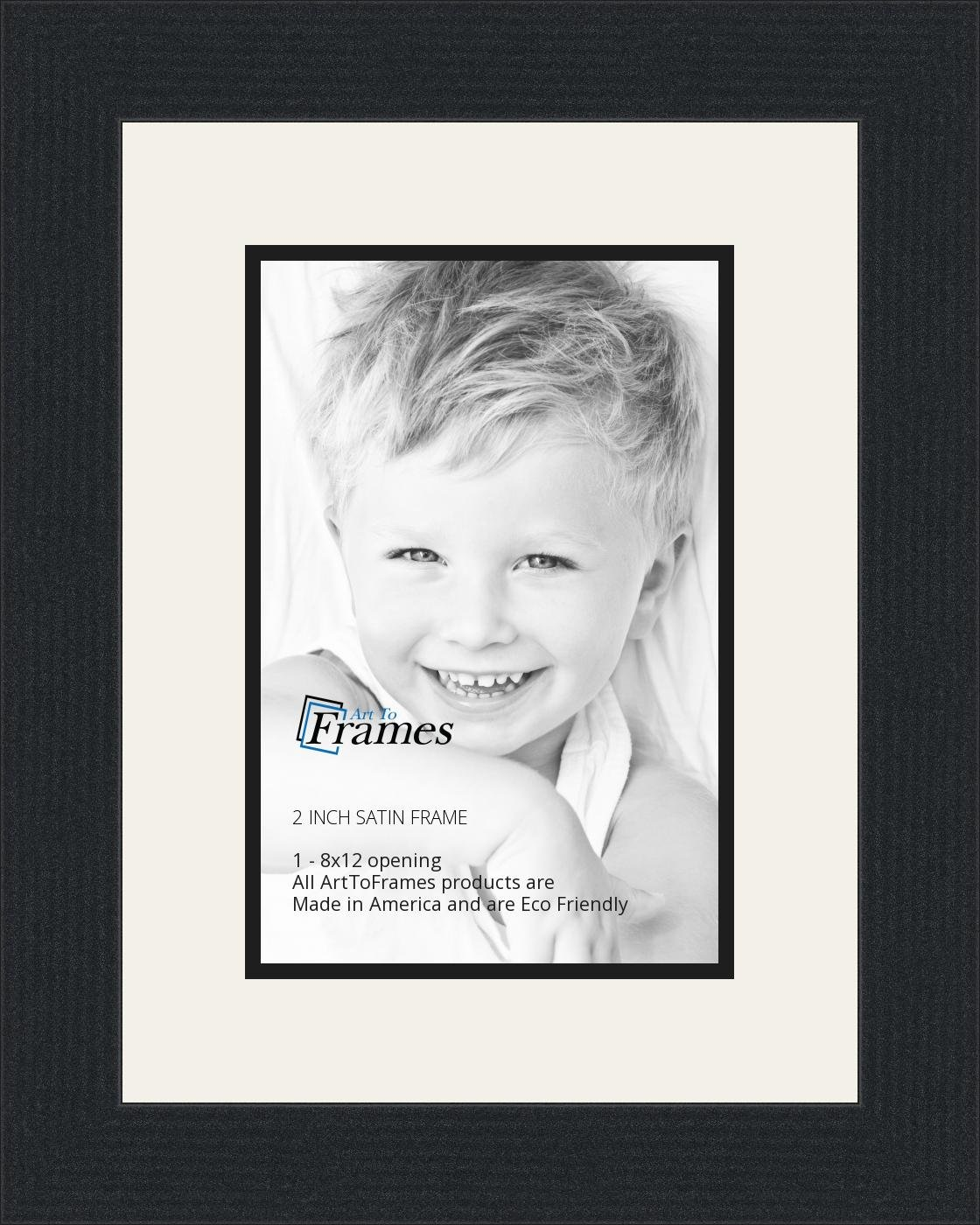 Amazon.com - 8x12 / 8 x 12 Picture Frame Satin Black .. 2\'\' wide ...