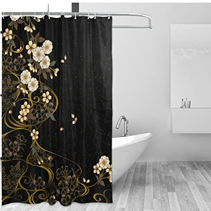 ALAZA Vintage Floral Home Decor Shower Curtain Set By Japanese Style Sakura Flower