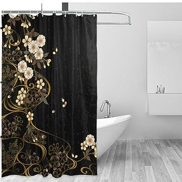 Amazon.com: Vintage Floral Home Decor Shower Curtain Set By ALAZA ...