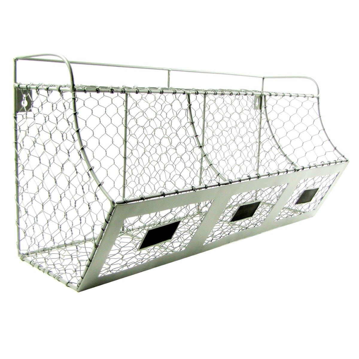 Amazon.com: Rustic Chicken Wire Wall Storage 3 Bin Basket Primitive ...