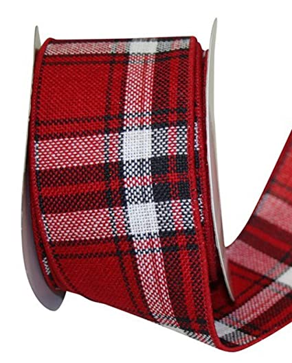 arthur wired red and black plaid christmas ribbon 2 12