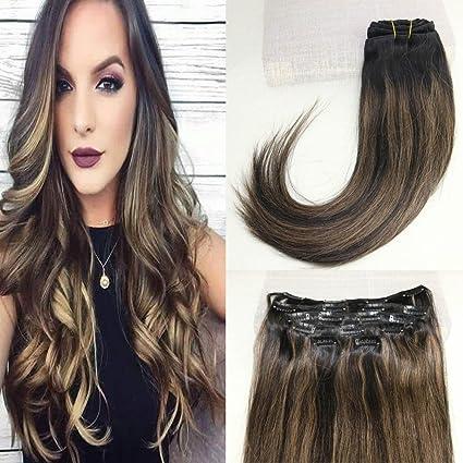 beautmiss 100% Remy extensiones de pelo humano clip en Ombre/Dip Dye Off Chocolate Marrón y miel Rubio Cabeza Completa 7pcs/set 120 g balayage ...