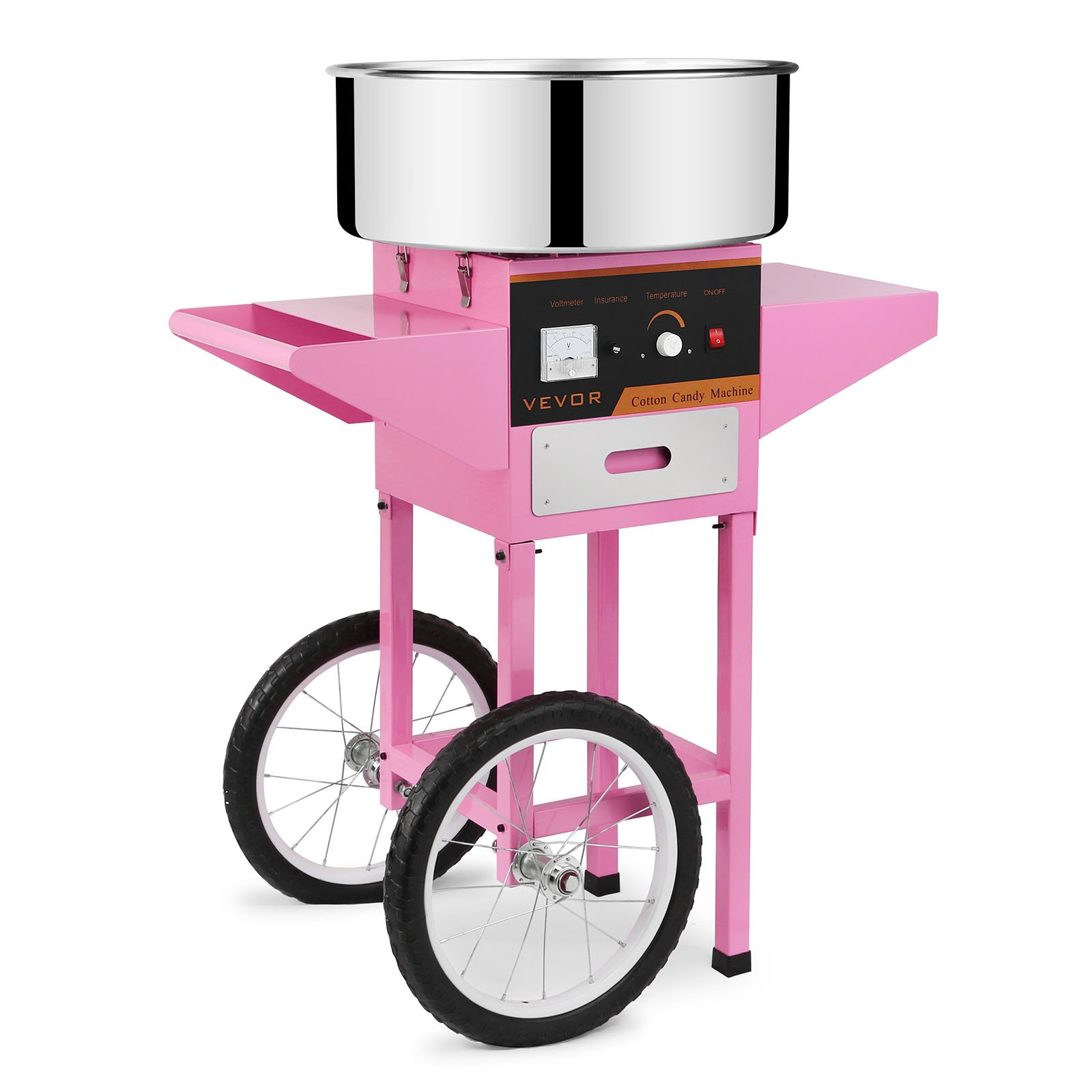 FoodKing Cotton Candy Machine Candy Floss Maker Electric Floss Maker Cart Kit Commercial Use 1030W for Wedding Party (Cotton Candy Machine with Cart)