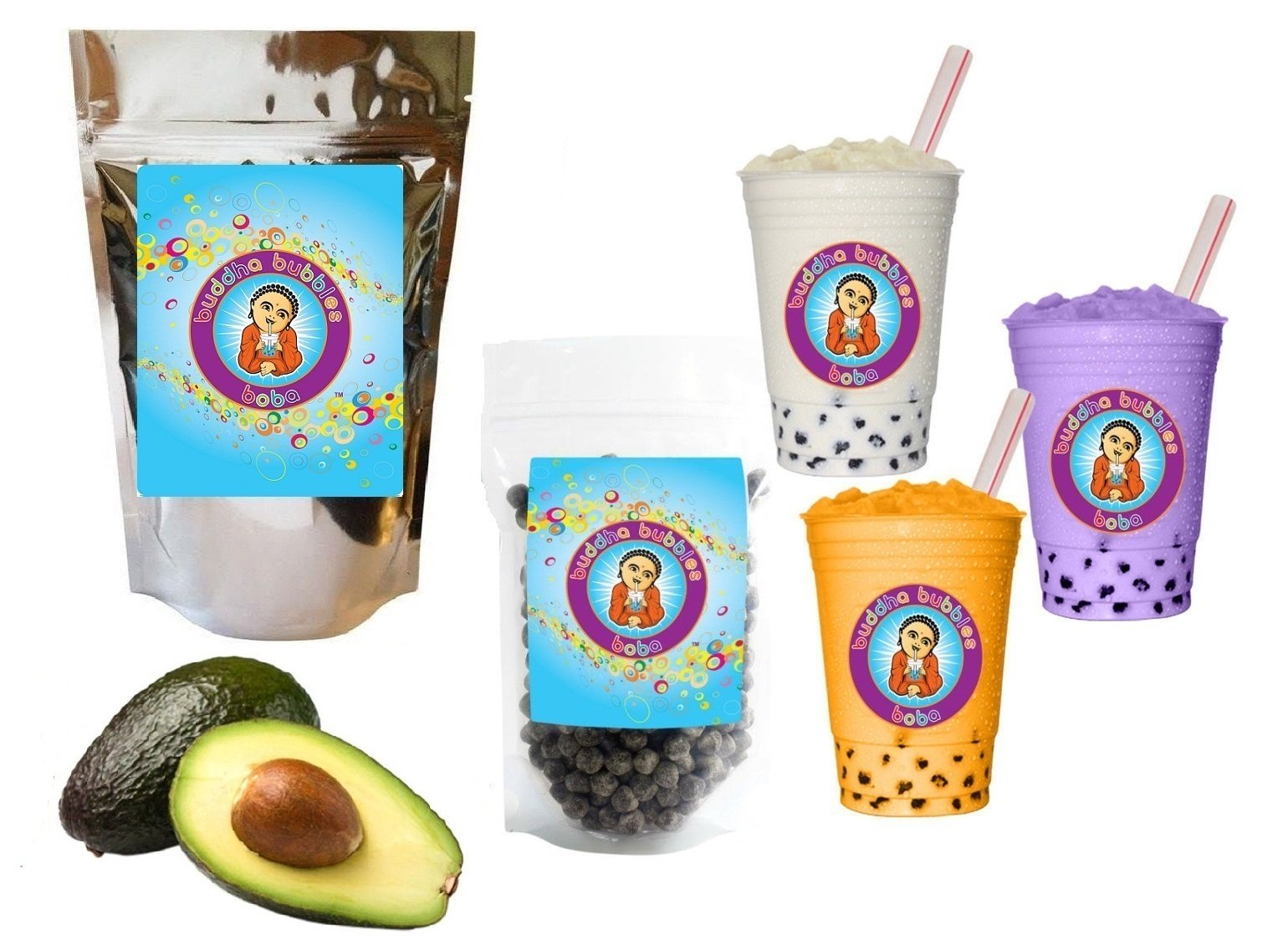 10+ Drinks Avocado Boba Tea Kit: Tea Powder, Tapioca Pearls & Straws By Buddha Bubbles Boba by Buddha Bubbles Boba