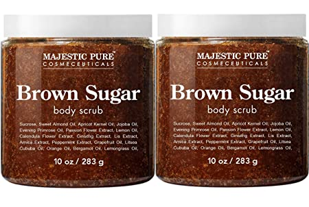 Brown Sugar Body Scrub for Cellulite and Exfoliation – All Natural Body Scrub – Reduces The Appearances of Cellulite, Stretch Marks, Acne, and Varicose Veins, Set Of 2