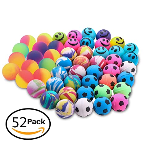 Jatidne 24 Pieces Super Bouncy Balls Party Bags Fillers for Kids Large Assorted