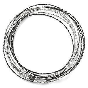 and Ruthenium Plated Diamond-cut 10 Layer Slip Bangle Bracelet