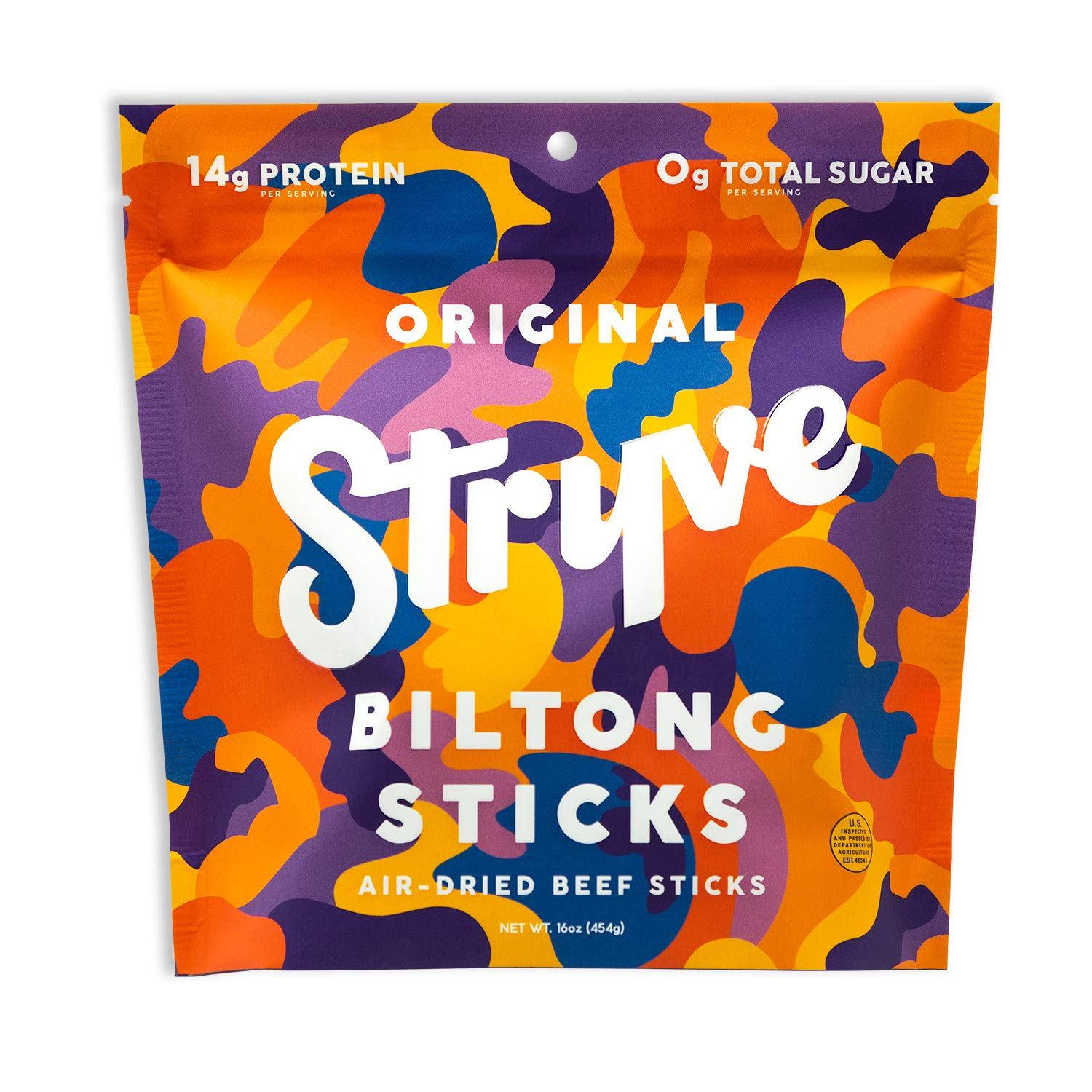 Stryve Mini Snack Beef Sticks. 14g Protein, Sugar Free, No Carbs, Gluten Free, No Nitrates, No MSG, No Preservatives. Keto and Paleo Friendly. Original, 16oz