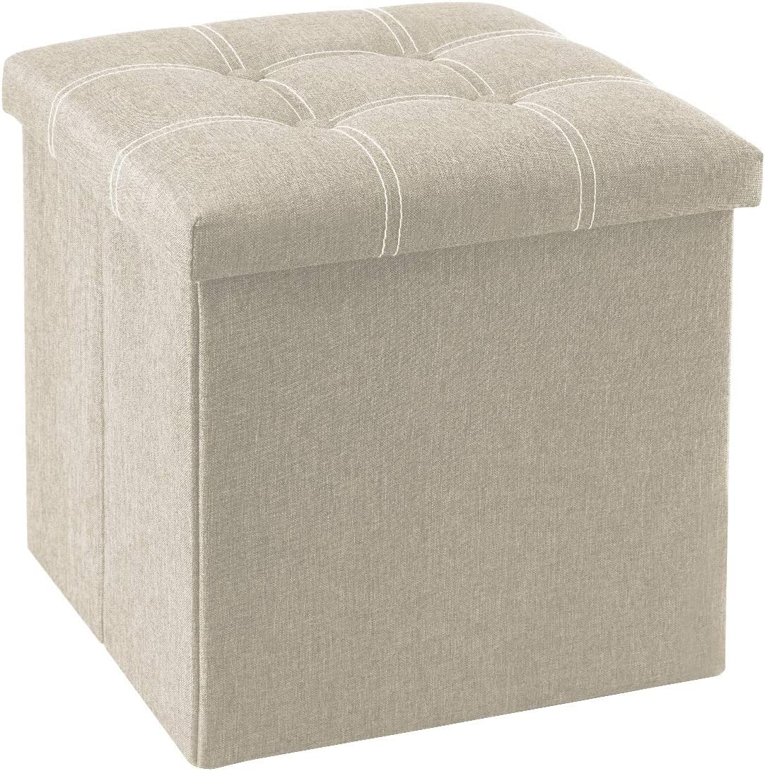YOUDENOVA 15 inches Storage Ottoman Cube, Foldable Storage Boxes Footrest Step Stool, Padded Seat for Dorm Living Room, Support 350lbs, Line Fabric Beige