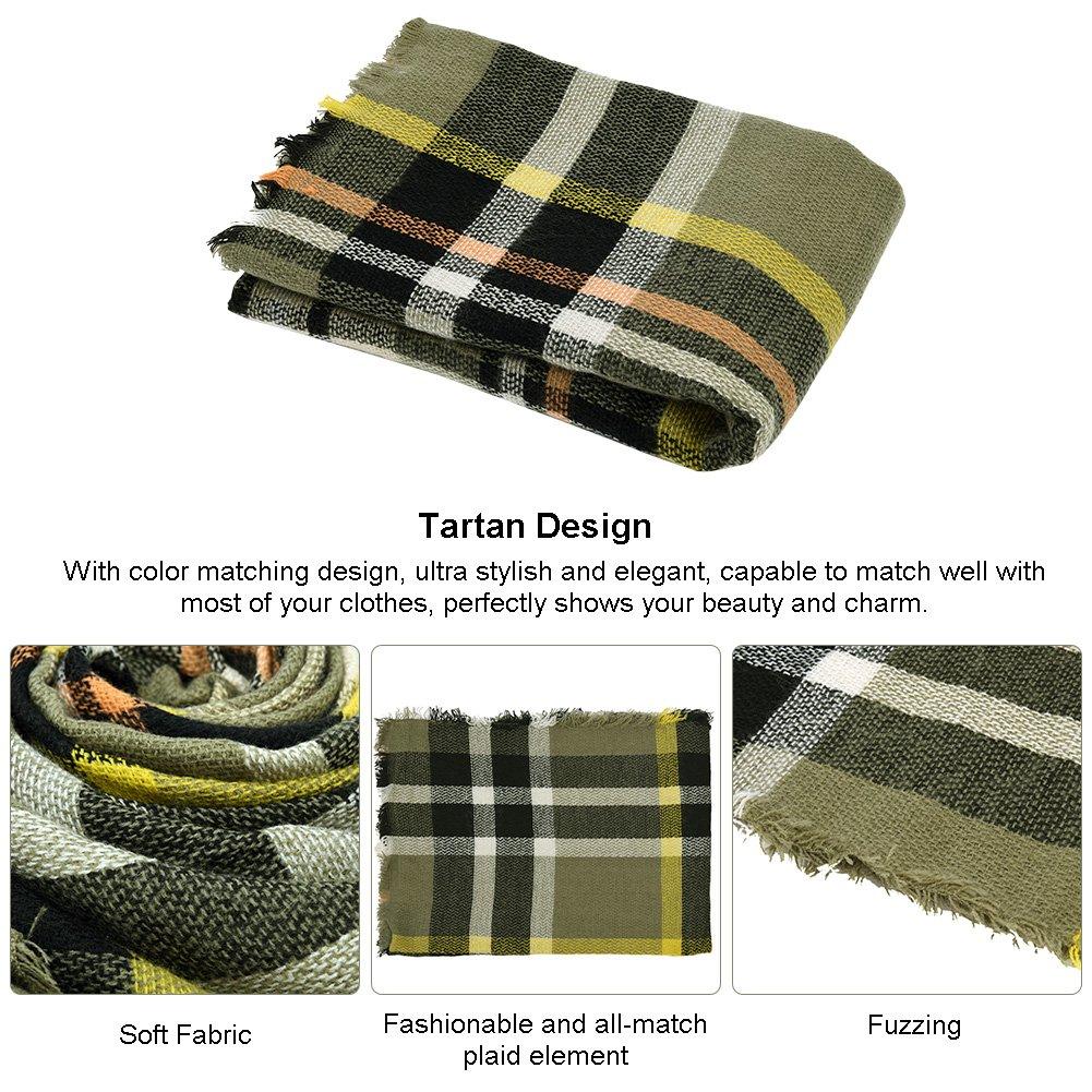 VBIGER Women Stylish Blanket Plaid Scarf Oversized Checked Shawls Wrap Shawl Pashmina (Deep Green)