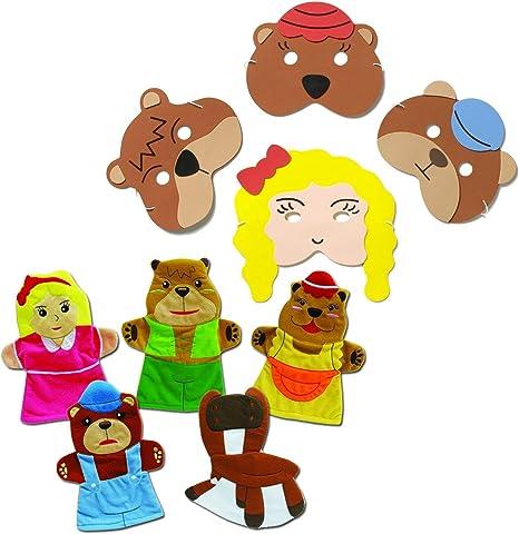 Bedtime Story Time Nursery Rhyme Red Riding Hood Mask /& Finger Puppet Set